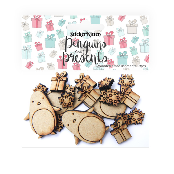 Penguins and Presents Wooden Embellishments