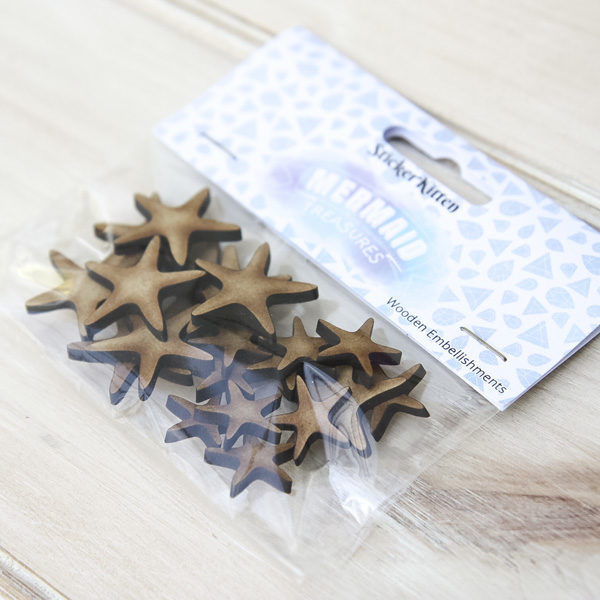 StickerKitten Mermaid Treasures Wooden Starfish Embellishments - in packet