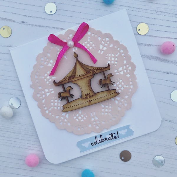5 super quick handmade card ideas using StickerKitten products - Unicorn Fairground wooden carousel card