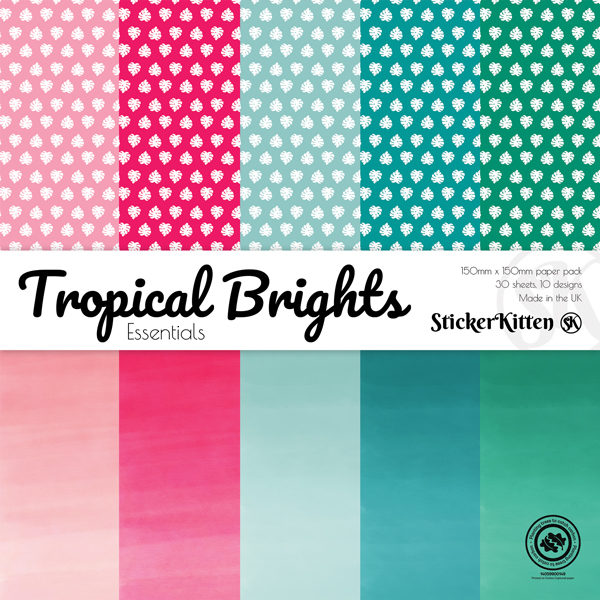 StickerKitten Tropical Brights 6x6 paper pack