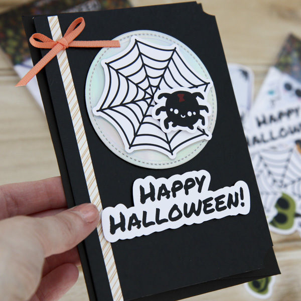 StickerKitten Halloween Ephemera - black spiderweb card with cute spider