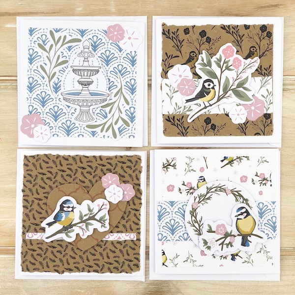 StickerKitten Bird Garden Cardmaking Kit - 4 cards