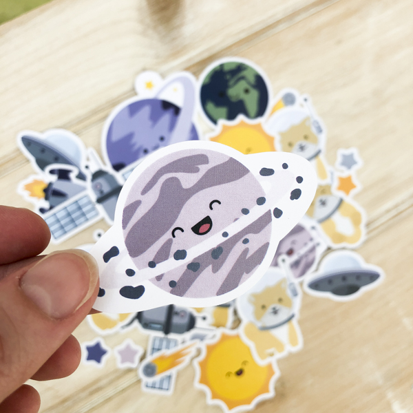 StickerKitten Space Dogs ephemera - happy planet